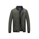 Mens Casual Number Embossed Long Sleeve Full Zip Slim Fit Army Green Lightweight Jacket