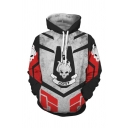 Mens Cool Game Cosplay Costume ODST Letter Skull 3D Printed Long Sleeve Loose Drawstring Hoodie