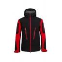 Men's Stylish Colorblocked Long Sleeve Hooded Zip Up Windbreaker Casual Jacket