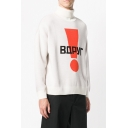 Unique Letter Exclamation Mark Printed Long Sleeve High Collar Unisex Retro Pullover Sweater in White