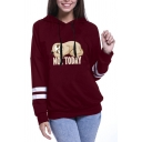 Womens Chic Burgundy NOT TODAY Bradypod Printed Long Sleeve Varsity Striped Drawstring Hoodie
