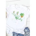 Womens Chic Green Plants Pattern Short Sleeve Crew Neck White Casual Daily Wear T-Shirt
