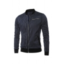 Pinstripe Printed Long Sleeve Zipper Embellished Mens Casual Daily Wear Fitted Jacket