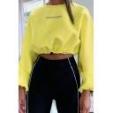 Womens Streetwear Simple Letter Printed Long Sleeve Drawstring Hem Cropped Knit Pullover Sweatshirt