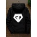 Fashion GD Reflecting Letter Long Sleeve Zip Up Unisex Hooded Sport Coat Jacket