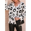 Fancy Geometric Pattern Printed V Neck Long Sleeve Ripped Trim Leisure Pullover Sweater