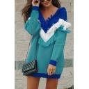Womens Stylish Colorblock Fringe Chevron Pattern Long Sleeve Knitted Longline Pullover Sweater