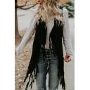 Womens Casual Solid Color Sleeveless Single Button Tassel Decoration Retro Longline Knit Vest Coat