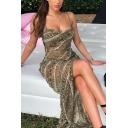 Womens Popular Snake Skin Printed Backless Side Split Sexy Maxi Cami Dress