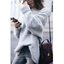 Ladies Elegant Gray Plain Long Sleeve Round Neck Warm Oversized Pullover Sweater