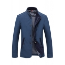 Mens Chic Plain Stand Collar Button Embellished Zip Closure Long Sleeve Slim Fit Short Blazer Jacket with Pocket