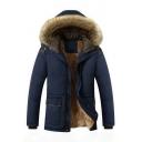 Mens New Fashion Sherpa Lined Long Sleeve Plain Zip Placket Detachable Fur Trimmed Hooded Parka Coat