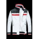Mens Classic Colorblock Striped Printed High Collar Long Sleeve Zip Up White Casual Track Jacket