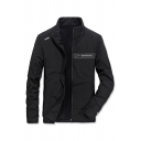 Casual Fashion TAPOO Letter Printed Stand Collar Long Sleeve Zip Front Black Leisure Track Jacket for Men