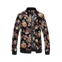 Mens Casual Allover Flower Pattern Long Sleeve Stand Collar Zip-up Slim Vintage Baseball Jacket