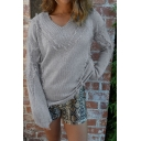 Womens Fashionable Solid Color Tassel Embellished Long Sleeve Loose Knitted Pullover Sweater