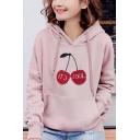Simple Letter Cherry Pattern Long Sleeve Pouch Pocket Oversized Drawstring Hoodie