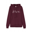 Womens Stylish Footprint Heartbeat Printed Long Sleeve Thick Pullover Hoodie
