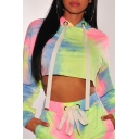 Ladies Sexy Colorful Tie Dye Long Sleeve Drawstring Cropped Hoodie