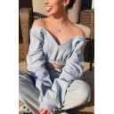 Women's Plain Long Sleeve Off Shoulder Deep V Neck Sexy Pullover Crop Sweatshirt