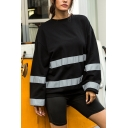 Classic Womens Reflective Stripe Splicing Crew Neck Long Sleeve Black Loose Pullover Sweatshirt