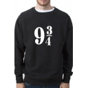 Fancy Number Printed Crewneck Long Sleeve Unisex Pullover Sweatshirt