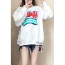 Letter RUFFLES Printed Long Sleeve White Loose Pullover Sweatshirt