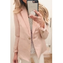 Womens Casual Lapel Collar Long Sleeve Single Button Pink Blazer Coat with Pocket