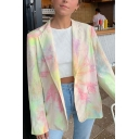 Womens Casual Pink and Green Tie Dye Long Sleeve Loose Blazer Coat