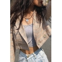 Womens Stylish Khaki Checked Pattern Long Sleeve Button Front Cropped Blazer Coat