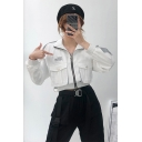 Unique Reflective Stripe Long Sleeve Zip Up Cropped Casual Cargo Jacket Coat