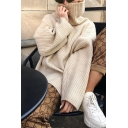 Womens Fashion Beige Plain Loose High Collar Long Sleeve Dipped Hem Ribbed Knit Pullover Sweater