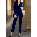 Womens Elegant Dark Blue Chic Button Embellished Slim Pleuche Blazer Coat with Pocket