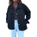 Girls Classic Black Lapel Collar Long Sleeve Single Breasted Loose Fit Denim Jacket Coat with Pocket