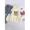 Womens Fashion Oil Paints Print Colorblock Stripes Sleeve Boxy Pullover Hoodie