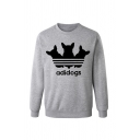 Creative Letter ADIDOGS Printed Crew Neck Long Sleeve Graphic Pullover Sweatshirt