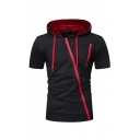 Mens Trendy Contrast Inclined Zipper Short Sleeve Slim Fit T-Shirt Drawstring Hoodie