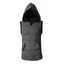 Mens Sportive Contrast Trim Design Sleeveless Slim Fit Hoodie Vest with Kangaroo Pocket