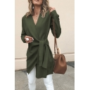 Fall Fashion V-Neck Long Sleeve Side Tied Slim Fit Asymmetric Longline Woolen Coat