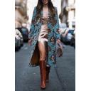 Womens Elegant Floral Print Notch Lapel Long Sleeve Blue Longline Woolen Overcoat