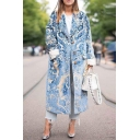 Womens Fashion Chinese Style Floral Printed Turn-Down Collar Single Breasted Longline Coat with Pocket