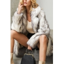 Ladies Elegant White Solid Notched Lapel Collar Long Sleeve Longline Faux Fur Overcoat