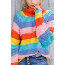 Womens Stylish Rainbow Striped Turtleneck Long Sleeve Loose Fit Chunky Knit Pullover Sweater