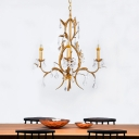 Traditional Candle Chandelier Lamp Metal 4 Lights Hanging Pendant Light in Gold with Crystal Bead