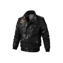 Mens Stylish Black Letter Embroidery Concealed Zip Closure with Press-Stud Placket PU Motor Jacket with Pocket