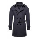 Mens Simple Plain Notched Collar Long Sleeve Double Breasted Split Back Longline Belted Wool Pea Coat