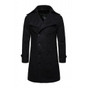 Mens Simple Notched Collar Long Sleeve Double Breasted Solid Color Longline Pea Coat