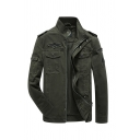 Army Green Applique Embellished Stand-Up Collar Long Sleeve Zip Closure Cotton Surplus Jacket with Flap Pockets