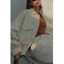 Women's Simple Beige Big Pocket Long Sleeve Single Breasted Oversized Classic Utility Jacket