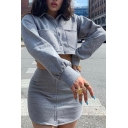 Womens Unique Plain Gray Long Sleeve Lapel Collar Single Breasted Cropped Casual Jacket with Dual Pocket